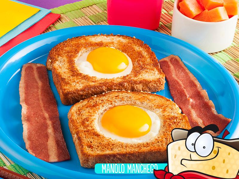Huevo con pan y tocino