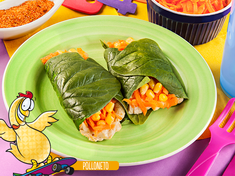 Rollo de espinaca con pollo y verduras