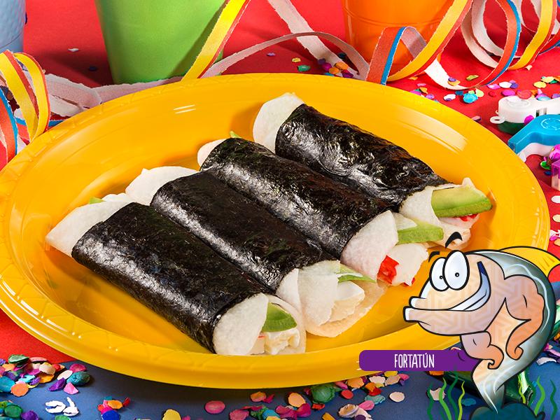Tacos de jícama con surimi