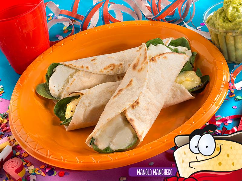 Tacos de queso con espinacas