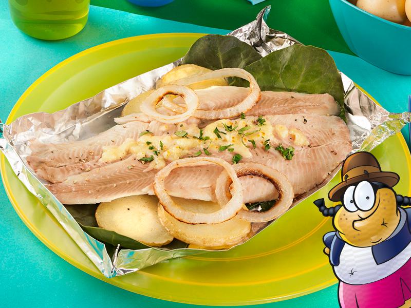 Trucha de pescado con acelgas