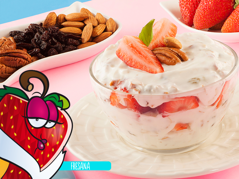 Yogurt natural con fresas