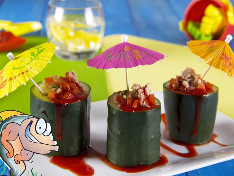 Ceviche de atún en vasitos de pepino