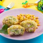 Muffin de brócoli con esquites picantes